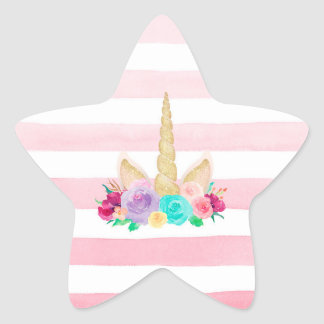 Unicorn Dreams Floral Star Stickers