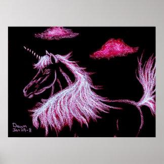 unicorn dreams pink poster