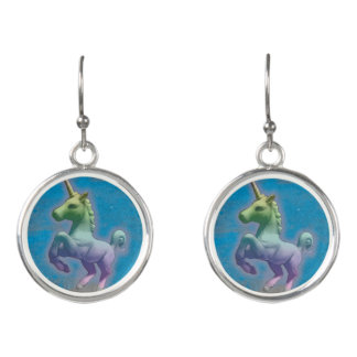 Unicorn Drop Dangly Earrings (Blue Nebula)
