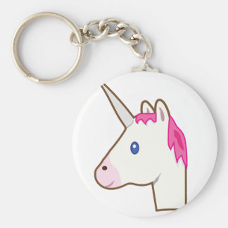 Unicorn emoji basic round button key ring