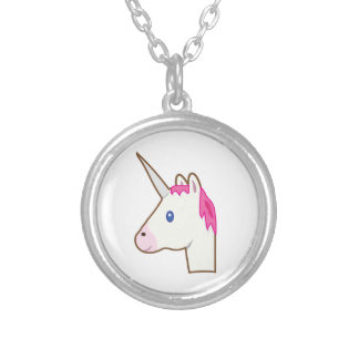 Unicorn emoji silver plated necklace