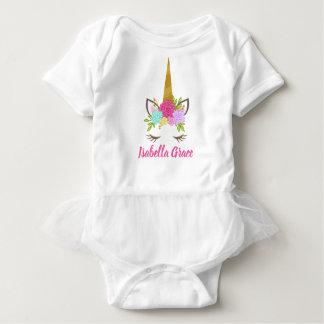 Unicorn Face Floral Baby Baby Bodysuit