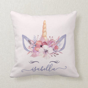 Unicorn face floral watercolor cushion