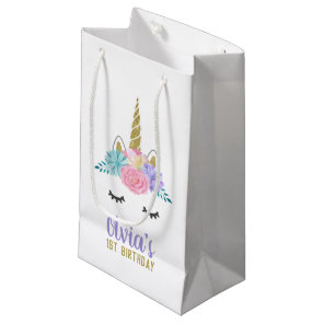 Unicorn Face Gold Glitter Birthday Gift Bag