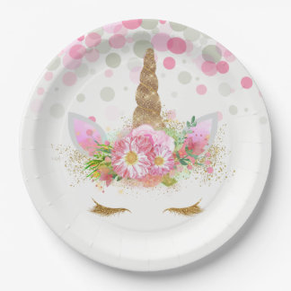 Unicorn Face Paper Plates