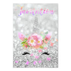 Unicorn Face Pink Gold Silver Grey Glitter Lashes Card