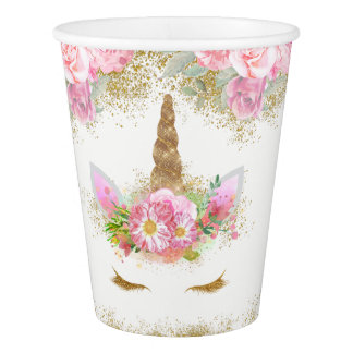 Unicorn Face Pink Gold Unicorn Paper Cups