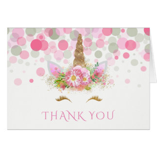 Unicorn Face Thank You Cards