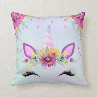 Unicorn face throw pillow watercolor purple flower