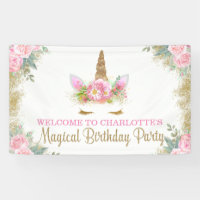 Unicorn Face Unicorn Birthday Party Banner