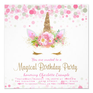 Unicorn Face Unicorn Birthday Party Invitations