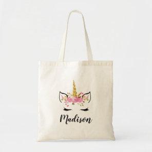 Unicorn Face With Eyelashes Personalised Name Tote Bag