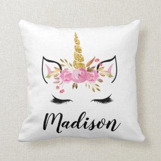 Unicorn Face With Eyelashes Personalized Name Cushion