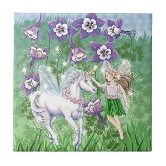 Unicorn Fairy Small Square Tile