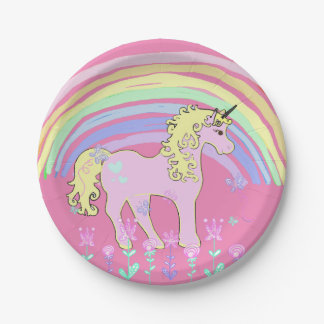 Unicorn Fairy tale Birthday Party pink Plates 7 Inch Paper Plate
