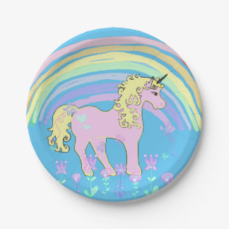 Unicorn Fairy tale Birthday Party Plates 7 Inch Paper Plate
