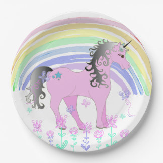 Unicorn Fairy tale Birthday Party Plates 9 Inch Paper Plate