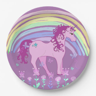 Unicorn Fairy tale Birthday Party Plates Purple 9 Inch Paper Plate