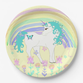 Unicorn Fairy tale Birthday Party Plates Yellow