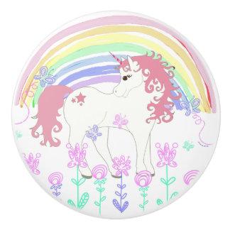 Unicorn Fairy Tale, Rainbow, Flowers and Butterfly Ceramic Knob