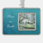 Unicorn Fantasy Art Peace on Earth Ornament Silver Plated Framed Ornament