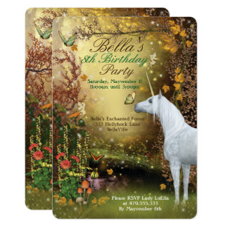 Unicorn Fantasy Woodland Birthday Party Card