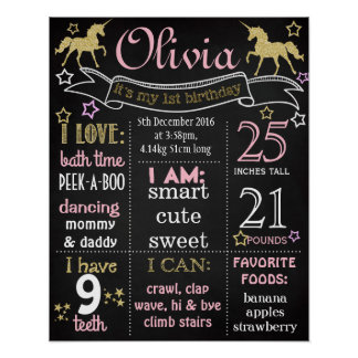 Unicorn First Birthday Party chalkboard sign Poster