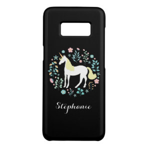 Unicorn & Flowers Black Personalised Case-Mate Samsung Galaxy S8 Case