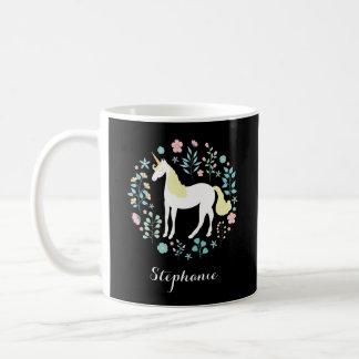 Unicorn & Flowers Black Personalized Coffee Mug