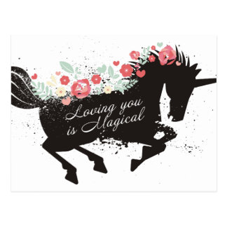 unicorn flowers loving you is magical Valentines Postcard