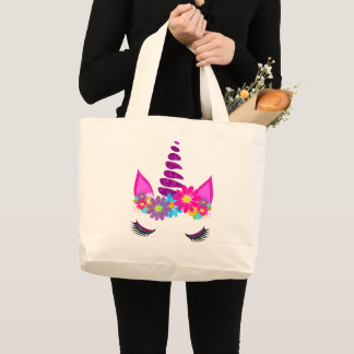 Unicorn Flowery Super Cute Girly Large Tote Bag