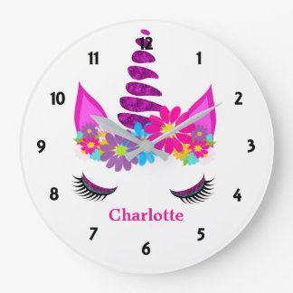 Unicorn Flowery Super Cute Girly Personalized Large Clock