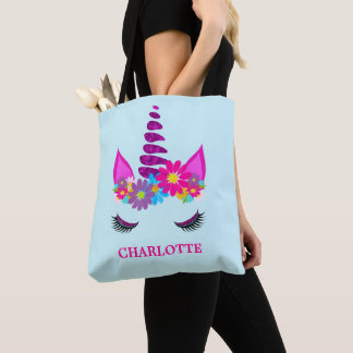 Unicorn Flowery Super Cute Girly Personalized Tote Bag