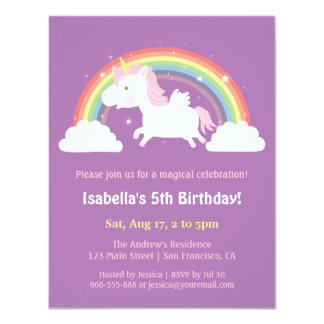 Unicorn Flying Over Rainbow Girls Birthday Party Card