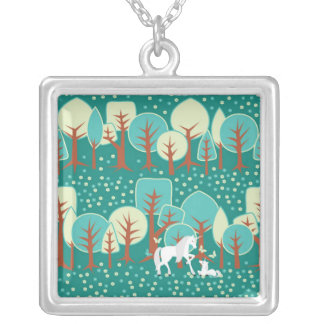 UNICORN FOREST SILVER PLATED NECKLACE