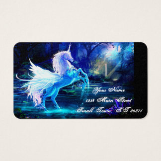 Unicorn Forest Stars Cristal Blue Business Card