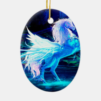 Unicorn Forest Stars Cristal Blue Christmas Ornament
