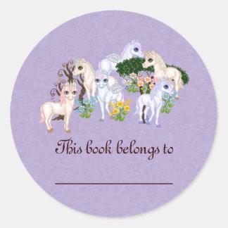 Unicorn Garden Pixel Art Round Sticker