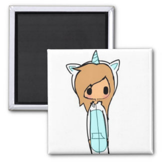 unicorn girl square magnet