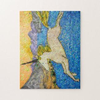 Unicorn Gliding Over Evolution Lake Jigsaw Puzzle