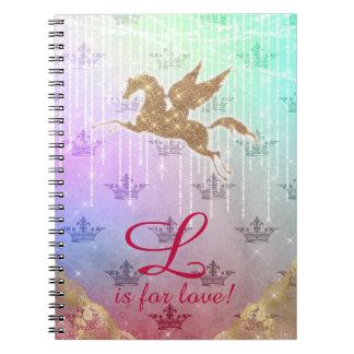 Unicorn Glitter Gold Lights Letter L crown love Notebook