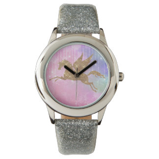 Unicorn Gold Sparkle Pink Silver Wrist Watch