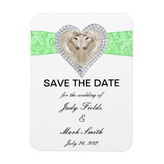 Unicorn Green Lace Save The Date Magnet