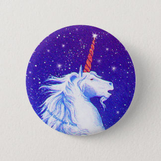 Unicorn Head with Blue 6 Cm Round Badge