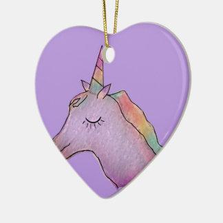 unicorn heart ornament