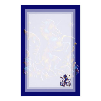 Unicorn Herald: Blue and Gold Stationery