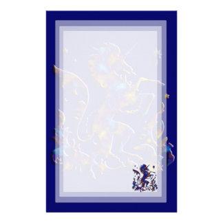 Unicorn Herald: Blue and Gold Stationery