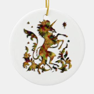 Unicorn Herald: Golden Agate on Plain White Round Ceramic Decoration