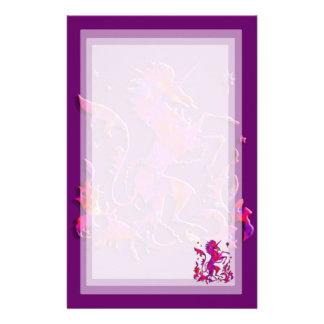 Unicorn Herald: Pink and Purple Stationery