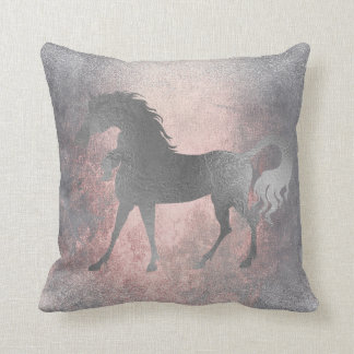 Unicorn Horse Princess Pink Fairly Silver Grungy Cushion